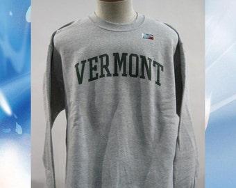 Vermont Arch Sweatshirt on Sports Grey Crew Neck with Green Arch - UVM University of Vermont  Crew - VT sweatshirt