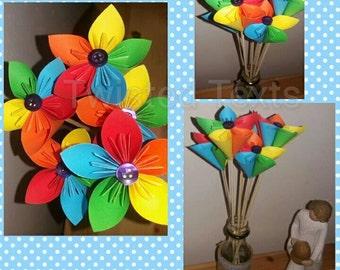 set of 5 Rainbow paper stem flowers
