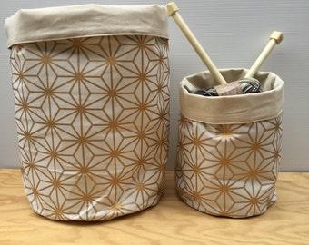 Metallic Gold Splash Storage Baskets