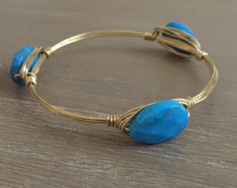 Wire Wrapped Bangle with Bright Blue Faceted Tear Drop Howlite Beads