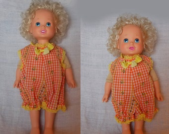 "Playmates Baby Grows Up Girl Doll Blond Blue Eyes Growing 14-16"" Blue Eyes 1987"