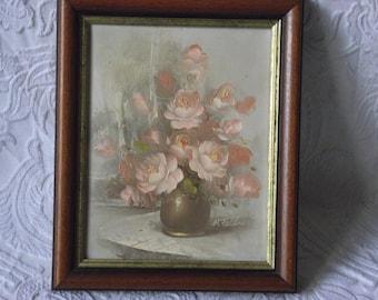 Impasto framed oil painting of peach coloured flowers. H Feldner.