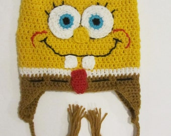 Crochet Sponge Bob Hat/Made to Order/Available in sizes newborn to adults