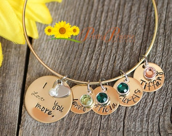 Mom Bracelet - Birthstone Bracelet - Gift for Grandma, Grandmother Bracelet - Children's Name Bracelet - Mother Anniversary Jewelry