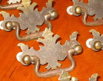 8 Colonial Pulls , Drawer Pulls , Brass Drawer Pulls