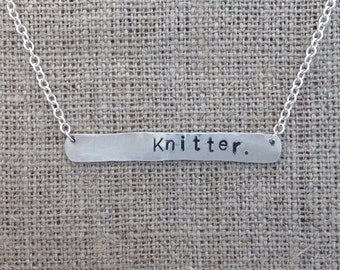 Knitter. stamped festoon necklace - sterling silver