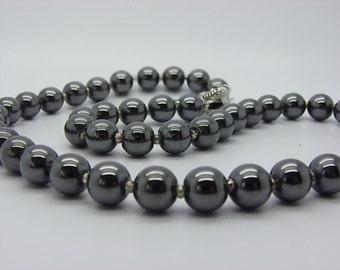 beautiful black grey stones steel 8 mm hematite necklace