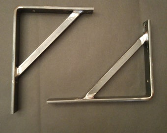 metal / steel industrial shelf bracket with support  CLEAR COAT FINISH 1 1/4""