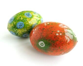 Pysanky Pisanki Ukrainian Easter Egg wooden easter eggs  Hand Decorated Chicken Egg orange green