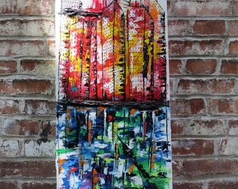 Original palette knife painting by MEDArts Impasto Abstract Cityscape City Colorful Bulding blue red yellow green orange white