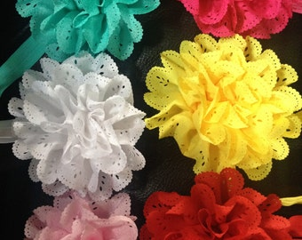 White flower headband, baptism headband, carnation headband, pink baby headband, green baby headband, summer baby headband, spring headband