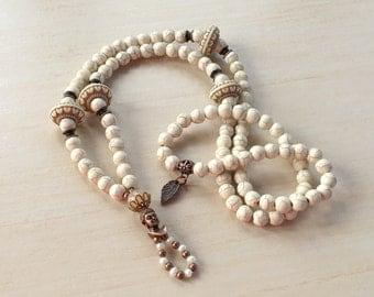 108 Mala beads Necklace,Bohemian Mala Beads,Yoga Meditation Bead,Gemstone Howlite,Prayer Beads,Healing Mala,108 Mala Stones,Buddhist Rosary