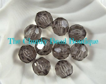 20mm transparent gray faceted bead, 10 pieces