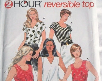 Sewing Pattern, 1996 Simplicity 7058, 2 Hour Reversible Top, Blouse Pattern, Uncut Unused, Sewing Supply