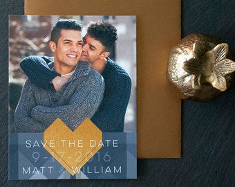 Geometric Save the Date Photo Magnets - Custom Save-the-Date Photo Magnet Cards - Geometric Gold Heart Magnetic Cards Engagement GEO Mosaic