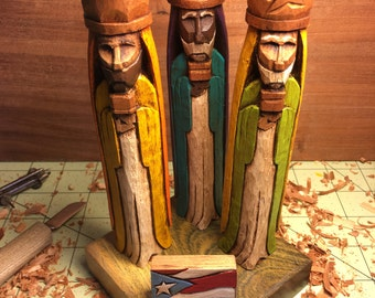Tres Reyes Magos (Three wise men) hand carved