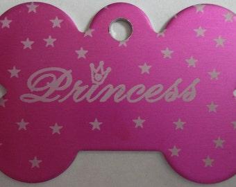 Dog ID Tag Custom Laser Engraved Personalized Pet ID Tag Pink Bone Princess