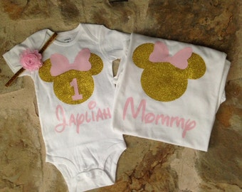 Mommy minnie mouse shirt, pink and gold mommy minnie shirt, pink and gold minnie mouse first birthday, mommy and me birthday shirts