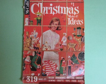 Vintage Christmas 60s McCalls Magazine Book, Make it Ideas, Vol 9 1966/ Mid Century craft, knitting, sewing patterns, great advertising