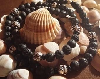 Lava stones silver necklace