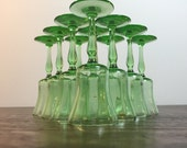 Green Depression Cordial/Sherry Glasses - Set of 10