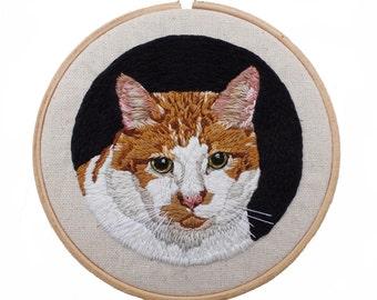 Cat Portrait, Custom Cat Art, Pet Portrait, Pet Embroidery, Cat Embroidery, Custom Portrait, Cat Hoop Art, Custom Pet Art, Embroidery Hoop