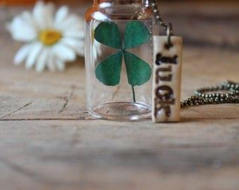 Good luck necklace, four leaf clover necklace, four leaf clover, luck necklace