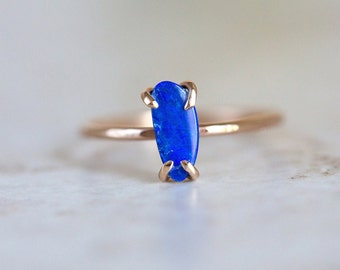 Boulder Opal Ring, Blue Boulder Opal Ring, Boulder Opal Prong Set Ring