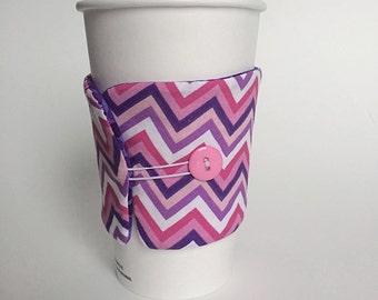 Chevron Mug Cozy, Coffee Cup Sleeve, Coffee Cup Cozie, Mug Sleeve, Girly Coffee Cup Cozy,