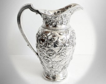 S Kirk and Son sterling silver pitcher or ewer - floral designs