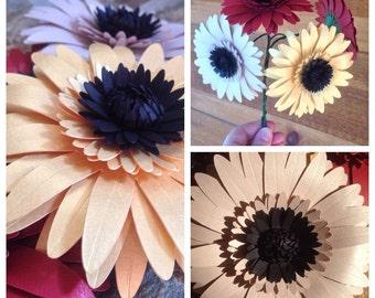 Paper Gerber Daisies, Set of 15, Choose your Colors, Paper Flowers, Wedding Centerpiece