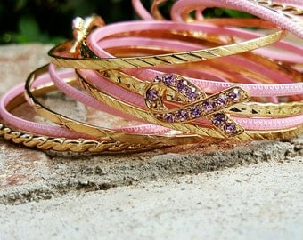 Breast Cancer Jewelry, Breast Cancer Awareness Bangles, Pink Bangles