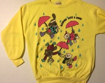 Vintage Raining Cats and Dogs Sweat Shirt Active Wear