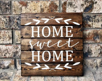 Home Sweet Home 12x12 Personalized Wood Sign Home Sweet Home Sign Home