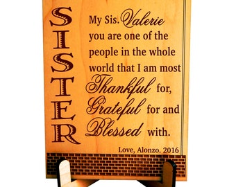Gift for my Sister,Thanks Giving Gift,Valentine Custom Sister Birthday Gift,Personalized Sister Gift, Brother to Sister Gift,Sister to Sis