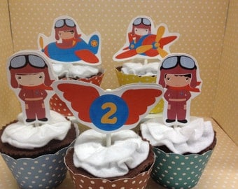 Pilot, Plane, Helicopter Party Cupcake Topper Decorations - Set of 10