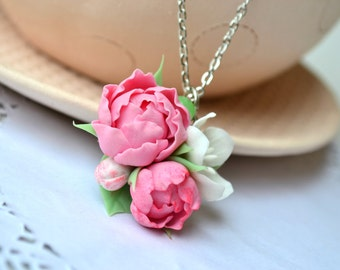 Pink peonies necklace pendant. Pink flower pendant necklace. Peony blossom jewelry.Polymer clay flower necklace
