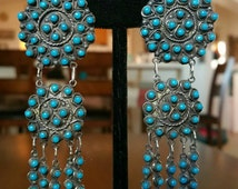 Zuni Petit-Point Turquoise and Silver Cluster Earrings.