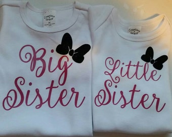Big sister, little sister shirt set.  Onesies or t-shirts.  Sisters shirts.
