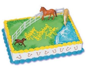 Horses & Fence Cake Topper 6 piece Horse Cake Decoration Set