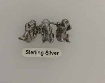 Sterling Silver Trio of Monkies Charm