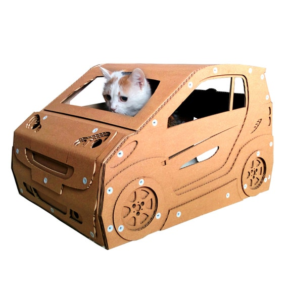 Smart cardboard cat housecat furniture cat toy by for How to make a cat toy out of a box