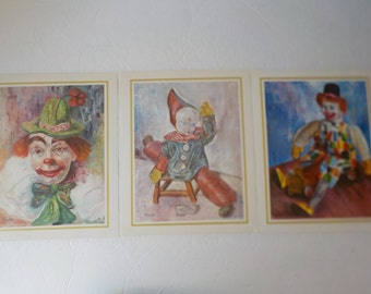 Lot of 3 Vintage Clown Prints by Michele 1960's Harlequin