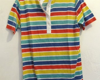 A Woman's,Vintage 80's era,Striped Short Sleeve HENLEY Top By RUSS.S