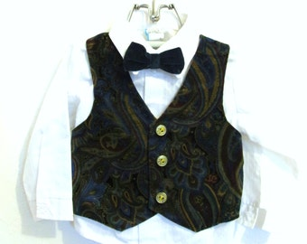 Marked Down 25%@@A Boys,Vintage 90's 3 Piece,White Shirt,Paisley VELVET VEST & BOWTIE.18mo