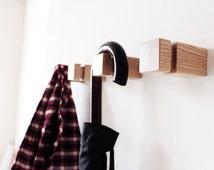 Set of 4 Modern Wall Hooks / minimalistic hangers /  ash wood