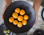 Ceramic Black Serving Bowl,Black Porcelain Bowl,Ceramic Fruit Bowl,Handmade Bowl,Serving Bowl,Housewarming Gift