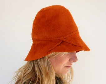 Felt Hat Brown cloche, Adorable 20's style hat , dressy hat,  Cloche Hat Mohair Felt Hat  Womens Bowler Hat, Orange Woman Fedora Hat