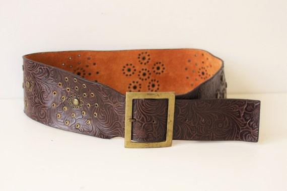 brown leather western belt wide brown cowboy belt metal buckle
