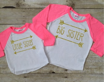 Big Sister Little Sister matching set with arrow and gold glitter Raglan shirts